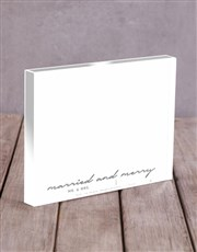 Personalised Married And Merry Acrylic Block