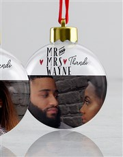 Personalised Mr And Mrs Decor Baubles
