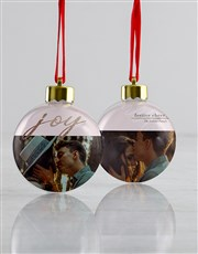 Personalised Joy And Cheer Baubles