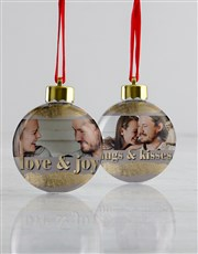 Personalised Love And Joy Baubles