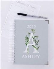 Personalised Botanical Initial Diary