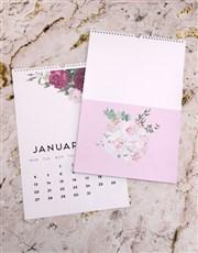 Personalised Pretty Peony Wall Calendar