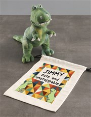 Personalised Dinosaur Teddy With Drawstring Bag