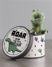 Personalised Dinosaur Teddy In Hat Box