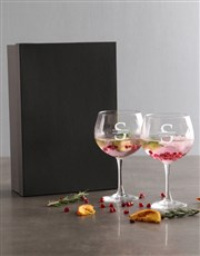 Personalised Surname And Initial Gin Glass Set