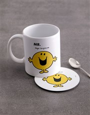 Personalised Mister Happy Mug And Coaster
