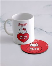 Personalised Hello Kitty Love Mug And Coaster