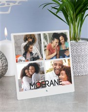 Personalised Surname Photo Upload Glass Tile