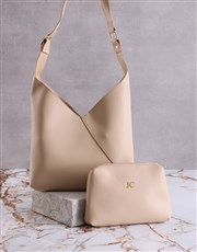 Personalised Tan Bag With Pouch