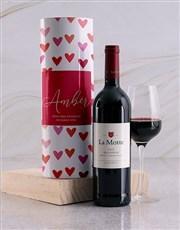 Personalised Hearts Wine Tube