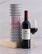 Personalised Black Hearts Wine Tube