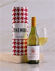 Personalised Red Houndstooth Wine Tube