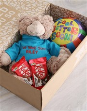 Personalised Get Well Teddy And Lindt Hamper