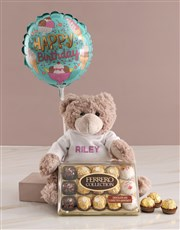 Personalised Embroider Teddy And Chocolate Hamper