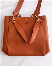 Personalised Tan Tote Bag and Long Purse