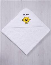 Personalised Mister Happy Hooded Towel