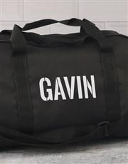 Personalised Stencil Black Gym Bag