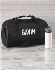 Personalised Stencil Black Sports Bag