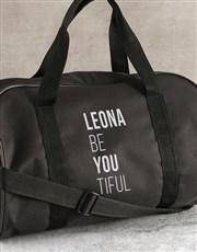 Personalised Be You Tiful Black Gym Bag