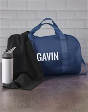 Personalised Stencil Navy Sports Bag