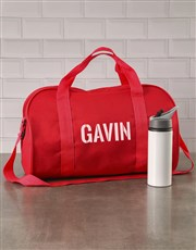Personalised Stencil Red Sports Bag