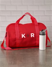 Personalised Star Initials Red Gym Bag