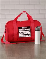 Personalised World Domination Red Sports Bag