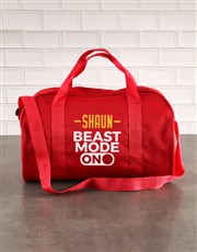 Personalised Beast Mode Red Sports Bag