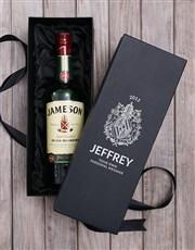 Personalised Jameson Irish Whiskey Wine Box