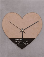 Personalised Mr and Mrs Heart Shaped Clock