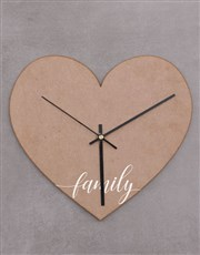 Personalised Family Heart Shaped Clock