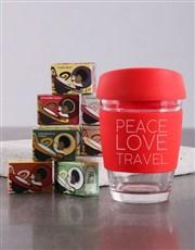 Personalised Peace Love Travel Kooshty Mug