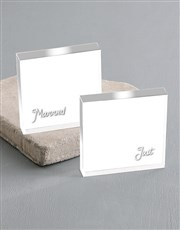 Personalised Just Married Acrylic Photo Blocks