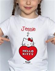 Personalised Hello Kitty Heart Kids T Shirt
