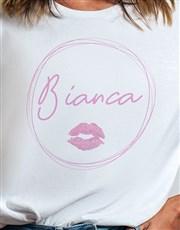 Personalised Kiss Print Ladies White Tshirt