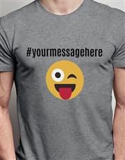 Personalised Wink Face Emoji Grey Tshirt
