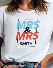 Personalised Mrs And Mrs White Tshirt