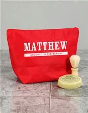 Personalised Mens Grooming Red Wash Bag