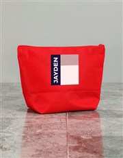 Personalised Mens Graphic Red Wash Bag