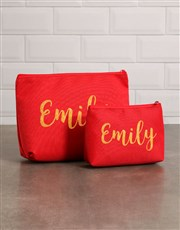 Personalised Red Cosmetic Bag