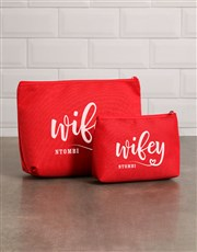 Personalised Wifey Red Cosmetic Bag