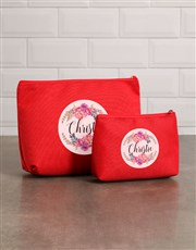 Personalised Floral Red Cosmetic Bag