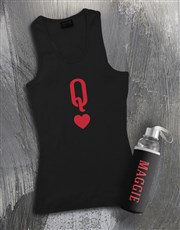 Personalised Queen of Hearts Racerback and Bottle