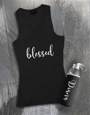 Personalised Blessed Racerback and Water Bottle