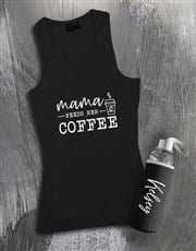 Personalised Mommas Coffee Racerback and Bottle