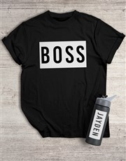Personalised Boss T Shirt and Water Bottle