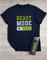 Personalised Beast Mode T Shirt and Water Bottle