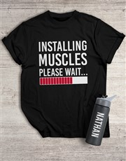 Personalised Installing Muscles T Shirt and Bottle
