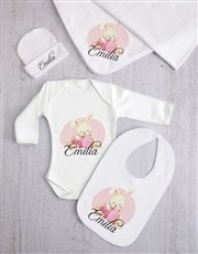 Personalised Pink Bunny Baby Clothing Gift