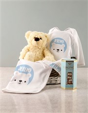 Personalised Blue Bear Baby Clothing Gift